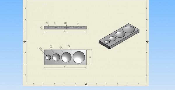 Pressmulde Luxemburg, 140 x 50 x 10 mm ( ø17/25/33/40 mm )
